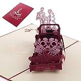 Dabixx Hochzeit Valentine Geburtstag Einladung 3D Pop Up Vintage Auto Grußkarte Hochzeit Oldtimer 20x13cm