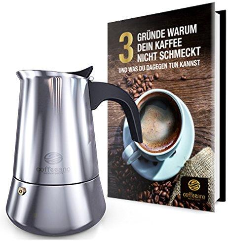Coffeeano Espressokocher Premium Mokka aus Edelstahl | für 4 Tassen, 200ml | Inkl. gratis eBook | auch für Induktion und Gas (Espressomaschine Beste)