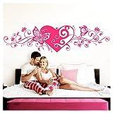 Grandora Wandtattoo Blumenranke Herz selbstklebend I pink 116 x 29 cm I Schlafzimmer Liebe Love Schmetterlinge Wandtatoo Wandaufkleber Wandsticker W642