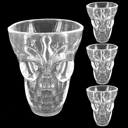 Halloween Totenkopf Wodka Whiskey Schnapsglas Plastik Scary Spooky Creepy Horror Gothic Party 3D Design Deko Neuheit Trick or Treat, plastik, farblos, 1 - Halloween Wodka