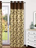 ARIANA Polyester Blend Linex Flower Eyelet Curtain (Door-7ft2 Inches, Brown)