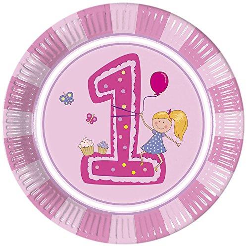 �dchen Pappteller Groß 23cm (Erster Geburtstag Einladungen Girl)