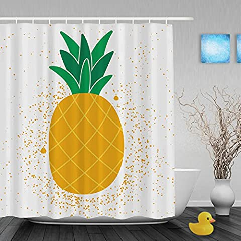 Say Hello To Summer Shower Curtain Bright Exotic Fruit Pineapple Decor Bathroom Shower Curtains Waterproof Mildewproof Polyester Fabric Yellow 72