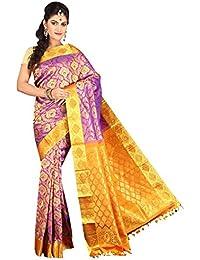RADHA SILK EMPORIUM Women's Silk Saree With Unstitched Blouse Piece (Violet) (RSE-281)