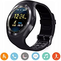 Smartwatch, CoolFoxx Y1 Bluetooth Smart Watch per Android,Rotondo Orologio con Slot SIM e TF Carta,Touch Screen,Pedometro,Sleep Moniter, SMS per Android e IOS, iPhone, Samsung, Huawei, HTC, LG,Sony