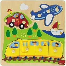 Goula - Puzzle vehículos, 10 piezas de madera (Diset 53030)
