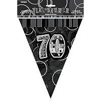 12ft Foil Glitz Black 70th Birthday Bunting Flags