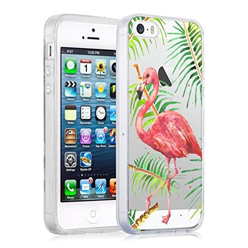Coque iPhone SE Coque iPhone 5 5s coque silicone transparente | JammyLizard | Edition Limitée Noel - Coque transparente silicone pour iPhone SE et iPhone 5 5s, Kombi Van VW - Surfeur SUMMER - FLAMANT ROSE