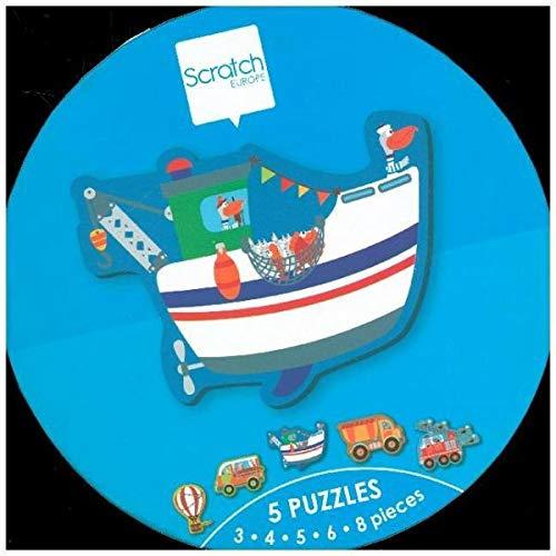SCRATCH- RompecabezasPuzzles encajables y rompecabezasSCRATCHScratch STARTERPUZZLE-Vehicles ca. 13-19cm, with 5 Puzzles 3-4-5-6-8 pcs, Cardboard, in Box, 2+, Multicolor