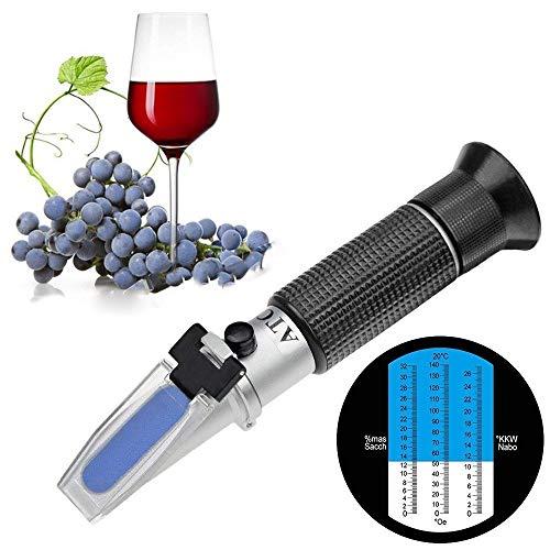 Winzer Refraktometer mit ATC Digital Handheld Brix Refraktometer Honig Zucker Obst Bier Wein Tester Meter Winzer Refraktometer 0-32 Brix (Zucker) Zuckergehalt messgerät (RZ113, 0-32%) (Wein Zucker)