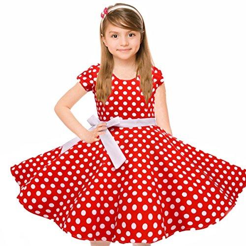 ine Baumwolle Rundkragen Kurzarm Audrey Hepburn 1950er Retro Große Schaukel Kleid für Party Hochzeit (Schönes Kleid Mädchen)