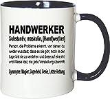 Mister Merchandise Kaffeebecher Tasse Handwerker Definition Geschenk Gag Job Beruf Arbeit Witzig Spruch Teetasse Becher Weiß-Blau