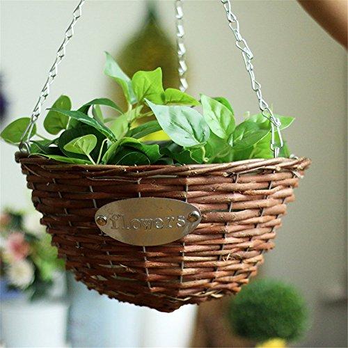 Pueri Blumenampel hängender Pflanzkorb Wicker geflochten Hängender Blumentopf Metall hängende Pflanzgefäße für den Innenbereich Pflanzen im Freien (30cm)