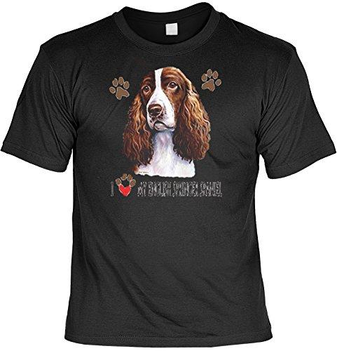 Hunde Shirt/ T-Shirt mit Dog Aufdruck: I love my English Springer Spaniel - tolles Tier-Motiv für Hundefreunde Schwarz