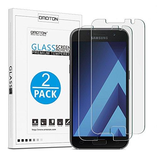 galaxy a3 glas [2 Stück] OMOTON Panzerglas Schutzfolie für Samsung Galaxy A3 2017, 9H Härte, Anti-Kratzen, Anti-Öl, Anti-Bläschen,2.5D abgerundete Kanten,lebenslange Garantie