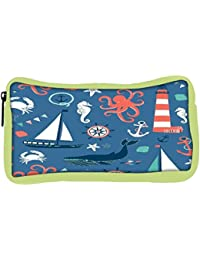 Snoogg Eco Friendly Canvas Set Of 4 Nautical Cards Student Pen Pencil Case Coin Purse Pouch Cosmetic Makeup Bag