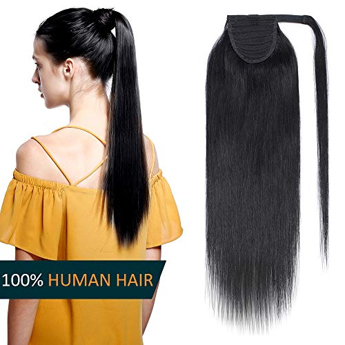 50cm coda capelli extension veri clip #1 jet nero - clip in hair naturali lisci coda di cavallo 100% human hair fascia unica ponytail wrap updo 95g