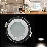 LED Panel Leuchte Glas Dimmbar Rund Deckenlampe Deckenleuchte Einbaustrahler (6W/Nicht Dimmbar, Neutralweiß)