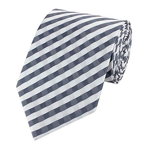 Fabio Farini Schlips Krawatte Krawatten Binder 8cm grau blau weiß kariert - Blau Diagonale Streifen-krawatte