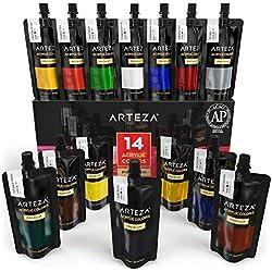 ARTEZA Bolsas de pinturas acrílicas para el arte | Juego de 14 colores numerados | 14 bolsas de 120 ml | Pintura acrílica de alta calidad para lienzos