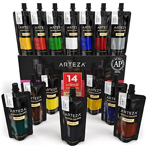 Colori acrilici professionali arteza, set da 14 tubetti grandi da 120 millilitri, tempere acriliche per dipingere su tela, pigmenti brillanti e fluidi facili da mescolare