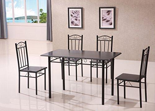 Gingermango - Mesa de comedor y cocina con cuatro sillas, colo negro