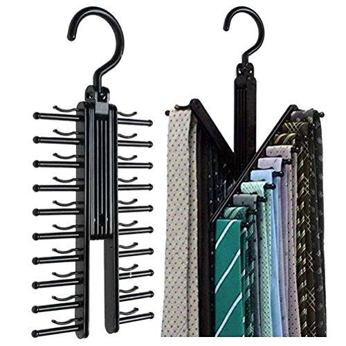 Alohha - 2 appendicravatte/cinture, incrociati, colore nero, clip antiscivolo, con rotazione a 360°, per fissare fino a 20 cravatte