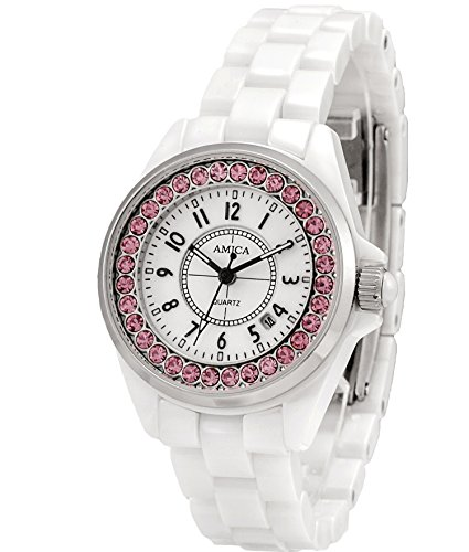AMICA Women's Dress Ceramics Band Quartz Hardlex Glass Diamond Wrist Watch 50M Water Proof Luxury Gift (White)