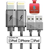 Lightning Cable, GCT IPhone Charger 2-PACK 6.6FT Nylon Braided 8 Pin Charging Cables USB Charger Cord, Compatible For IPhone X / 8 / 8 Plus / 7 / 7 Plus / 6 / 6 Plus / IPad And More (Grey)