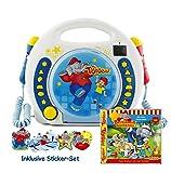 X4-TECH 701740 Bobby Joey - Lettore per Bambini Benjamin Blümchen, Inclusi microfoni CD-2 MP3 e rubrica per Karaoke, Colore: Blu/Bianco