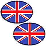 Biomar Labs 2 x PVC Autocollant Voiture Auto Moto Drapeau National UK Royaume-Uni Union Jack l'Angleterre Oval Flag B 198
