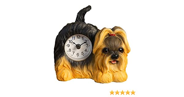 Best of Breed Long Haired Yorkshire Terrier Wagging Tail Mantle Desk Shelf Clock