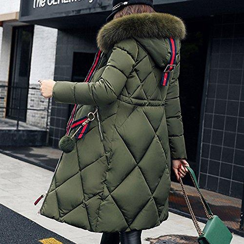 Femme Manteau Hiver Jacket Parka - Manches Longues Manteaux Rembourrée Veste à Capuche Zip Long Chaud Doudoune Coat Blousons Hoodie Highdas Olive