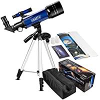 Emarth 70mm/360 Refraktor Teleskop für Kinder und Einsteiger für Beobachtung von Himmel und Landschaft- Mit Zwei Okulare (K25mm & K10mm) & verstellbarem Stativ & Rucksack (Geschenk für Kinder)
