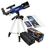 Emarth Telescopio da 70mm per bambini e principianti di astronomia, Travel Scope con treppiede e mirino regolabile e due oculari (K25mm e K10mm) - Perfetto per i bambini educativi e regali