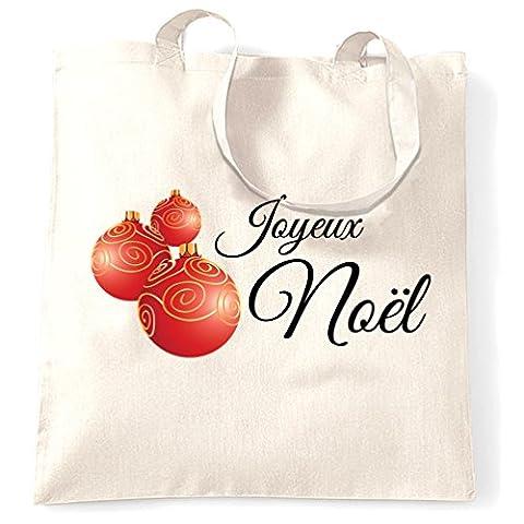 Joyeux Noel French Seasons Greetings Christmas Baubles Glitter Shopping Tote Bag.