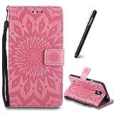 SchutzHülle für Galaxy Note 4 Pink,Slynmax Mandala Blume Hülle Wallet Case HandyHülle für Galaxy Note 4 Tasche Klapphülle Flip Cover Ledertasche Brieftasche Lederhülle Handytasche,Flower of Paradise)