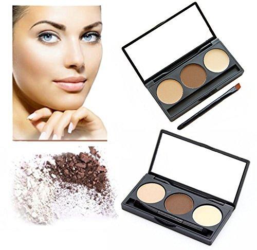 CINEEN 3 Farben Augenbraue Powder Palette Eye Braue mit Pinsel und Spiegel Makeup Set Kit