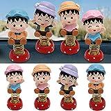 Bangle009 - Set di 4 Bambole a energia Solare, Giocattolo per cruscotto Auto, One Color, Taglia Unica