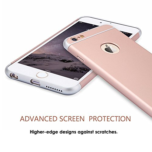 iPhone 6S Hülle,3 in 1 Ultra Slim hart Hülle Anti- rutsch Matte Oberfläche Grenze für iPhone 6(4.7 '')(2014) und iPhone 6S (4.7 '')( 2015) Rose Gold