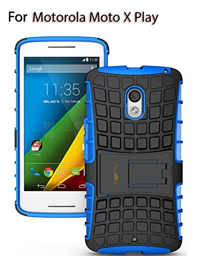 Heartly Flip Kick Stand Spider Hard Dual Rugged Armor Hybrid Bumper Back Case Cover For Motorola Moto X Play - Power Blue (Not For Moto X Style)