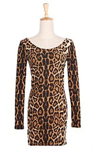 SaySure - Women's Sexy Club Mini Crew Neck Leopard Dress