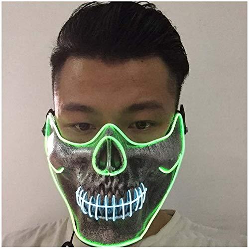 Prom Dress up EL kaltes Licht leuchten Maske Gesicht Totenkopf Horror Led Leuchten Halbmaske ()