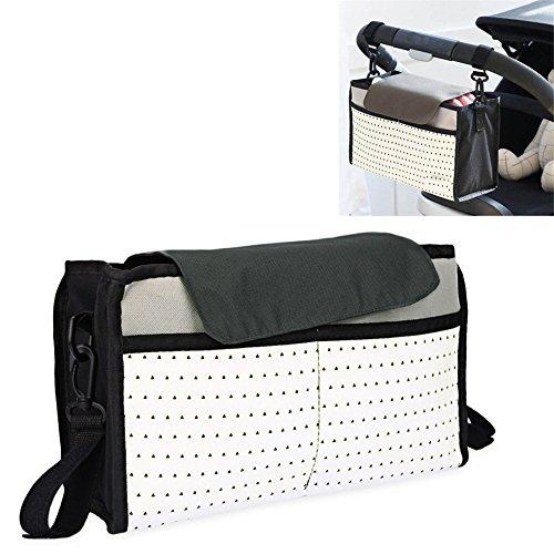 Organizer für Buggy, Kinderwagen Organizer Multi Pocket Tasche - Wickeltasche für den Kinderwagen und Schulterband/Ideal für iPhone, Brieftaschen, Windeln, Trinkflaschen, von DUBENS (Grau)