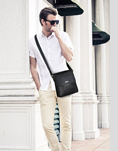 YOUJIA Herren Casual Vintage Messenger Umhängetasche PU-Leder Crossbody tasche für Schule Business Büro (#2 schwarz) #2 schwarz