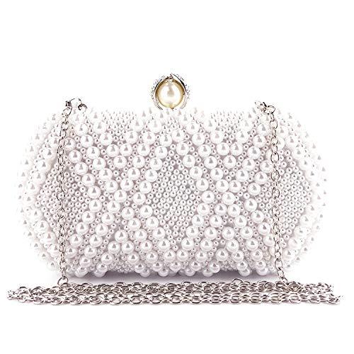 EVEOUT Imitat Perle der Frauen Bördelte Harte Fallkupplungstasche, Braut Hochzeit Handtasche Abschlussball Beutel Geldbeutel des Dameabends