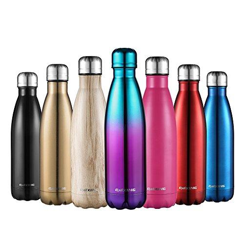 CMXING Thermo Gourde Bouteille d'eau en Acier Inoxydable Isolée Double Paroi-Bouteille Isotherme 500ml& 750ml Réutilisable sans BPA