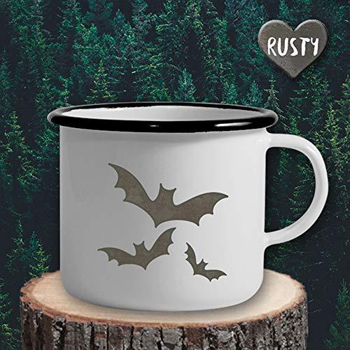 The Manufacture Fledermäuse Emaille Becher Tasse als Geschenk, weiß Tier Halloween Gastgeschenk