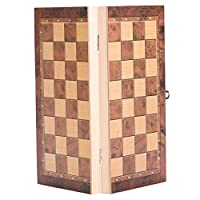 Portable Wooden Chessboard, Folding Board Chess Game For Party Family Activities 3 in 1