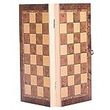 Tbest Juego de ajedrez de Tablero Plegable de Madera Tallada a Mano 3in1 Juego de ajedrez de Tablero Plegable para Actividades Familiares de Fiesta(34*34cm)